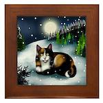 CALICO CAT WINTER MOON Framed Tile