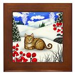 ORANGE TABBY CAT WINTER BERRIES Framed Tile