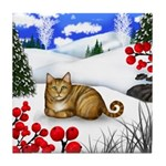 ORANGE TABBY CAT WINTER BERRIES Tile Coaster