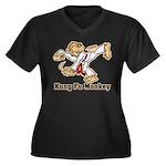 Kung Fu Monkey Women's Plus Size V-Neck Dark T-Shi