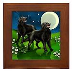 FLAT COATED RETRIEVER DOGS FULL MOON Framed Tile