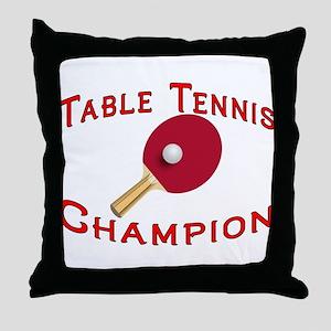 Table Tennis Champion Throw Pillow