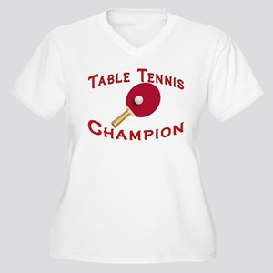 Table Tennis Champion Women's Plus Size V-Neck T-S