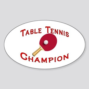 Table Tennis Champion Oval Sticker