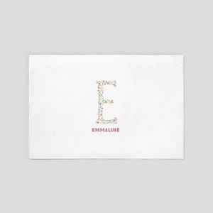 Floral Letter E Monogram 4' x 6' Rug