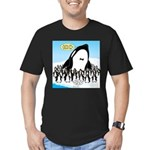 Orca with Penguins Men's Fitted T-Shirt (dark)