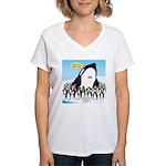 Orca with Penguins Women's V-Neck T-Shirt