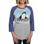 Orca with Penguins Womens Baseball Tee