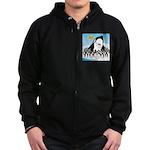 Orca with Penguins Zip Hoodie (dark)