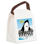 Orca with Penguins Canvas Lunch Bag