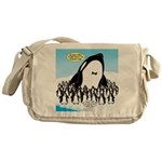Orca with Penguins Messenger Bag