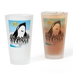 Orca with Penguins Drinking Glass
