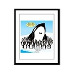 Orca with Penguins Framed Panel Print