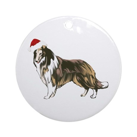 Collie Santa Ornament (Round)