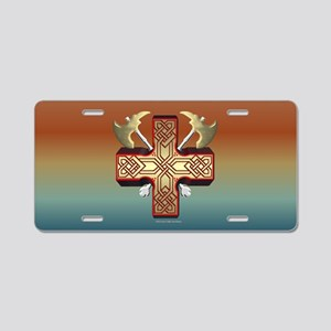 Celt Ax Cross Aluminum License Plate