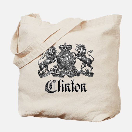 Clinton Vintage Last Name Crest Tote Bag