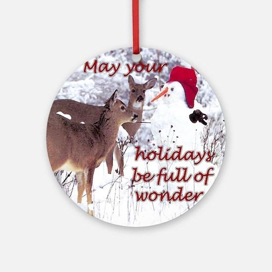 Deer & Snowman Ornament (Round)