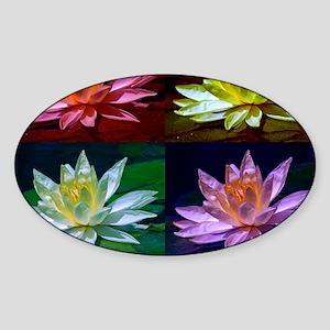 Lotus Flower Art Oval Sticker