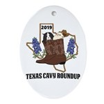 Texas Cavy Round Up Oval Ornament