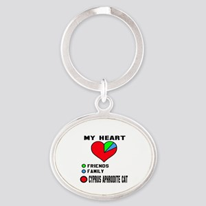 My Heart Friends, Family, Cyprus Aph Oval Keychain
