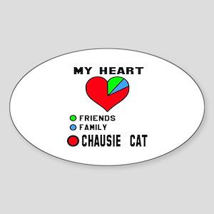 My Heart Friends, Family, chausie C Sticker (Oval)