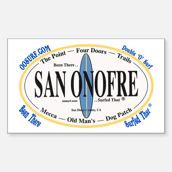 San Onofre Surf Spots Rectangle Decal