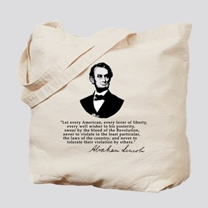 Remarkable Lincoln Law of the Land Quote Tote Bag