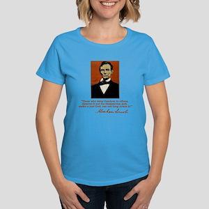 Abe Lincoln FREEDOM Quote Women's Dark T-Shirt