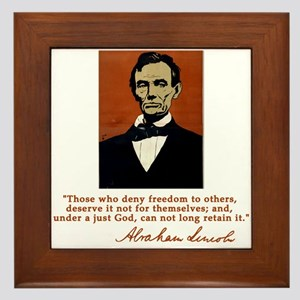 Abe Lincoln FREEDOM Quote Framed Tile