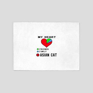 My Heart Friends, Family, asian Cat 5'x7'Area Rug