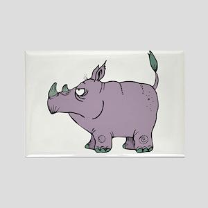 Stubborn Rhino Rectangle Magnet
