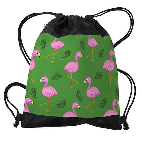 Pink Flamingos On Green Drawstring Bag