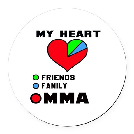 my heart friends family mma round car magnet by superhot8. Black Bedroom Furniture Sets. Home Design Ideas