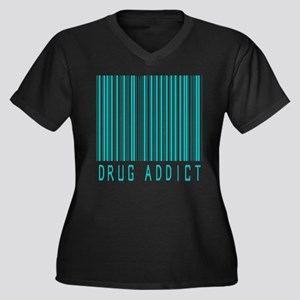 Drug Addict Women's Plus Size V-Neck Dark T-Shirt