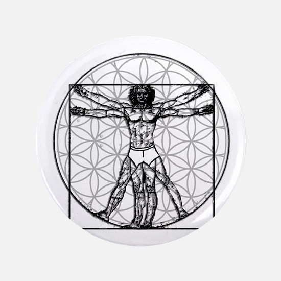 "Vitruvian Flower of Life 3.5"" Button"