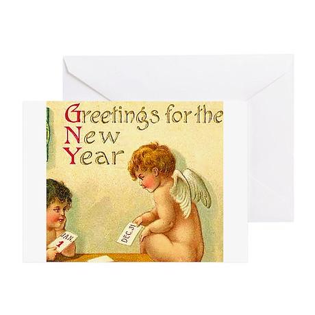 New Year Angel Cherub Greeting Card