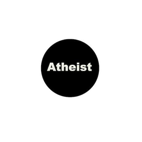 """""""ATHEIST"""" (white on black) Mini Button"""