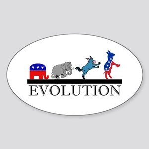 Political Evolution Oval Sticker