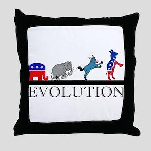 Political Evolution Throw Pillow