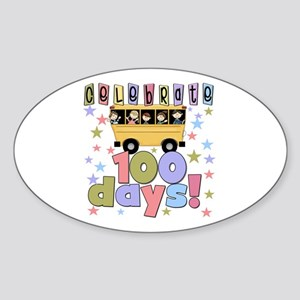 Celebrate 100 Days of School Sticker (Oval)