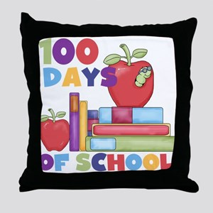 Books 100 Days Throw Pillow
