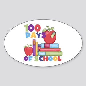 Books 100 Days Sticker (Oval)