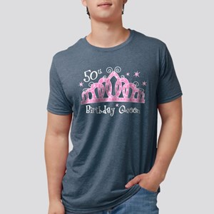 Tiara 50th Birthday Queen Mens Tri-Blend T-Shirt
