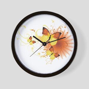 Yellow Butterflies Wall Clock