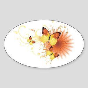 Yellow Butterflies Oval Sticker
