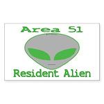 Area 51 Resident Alien Rectangle Sticker 10 pk)
