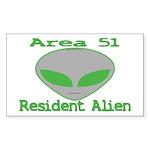 Area 51 Resident Alien Rectangle Sticker 50 pk)