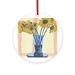 New Orleans Art Blue Vase Ornament (Round)