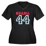 OBAMA 44 Women's Plus Size V-Neck Dark T-Shirt