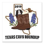 """Texas Cavy Round Up Square Car Magnet 3"""" X 3&"""